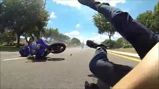 High Speed Yamaha R1 Motorcycle Crash (Slow-Motion)