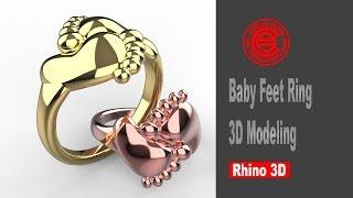 Baby Feet Ring Modeling in Rhi…
