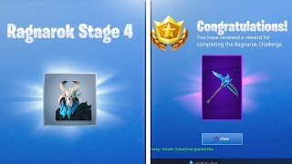 "STAGE 4 ""RAGNAROK"" MASK + ""PERMAFROST"" Pickaxe Unlocked! Fortnite Season 5 Battle Pass Skin Upgrade"