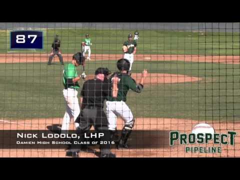 Nick Lodolo Prospect Video LHP, Damien High School Class of 2016, Full Start vs Upland