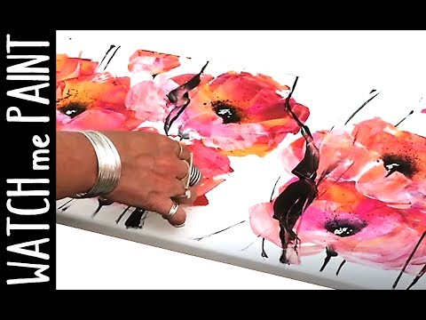 Acrylicpainting timelapse painting - abstract painting - acryl malen - floral art by zAcheR-fineT