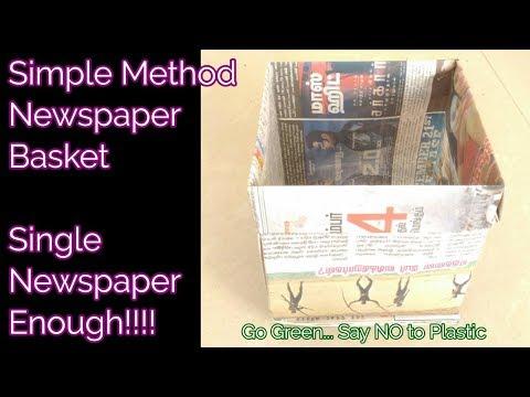 Newspaper basket   DIY Reuse idea newspaper craft dustbin or storage box  Treasure Trickz
