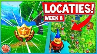 WEEK 8 | ALLE GNOME LOCATIES & GEHEIME BATTLE STAR GEVONDEN!!! - Fortnite: battle Royale