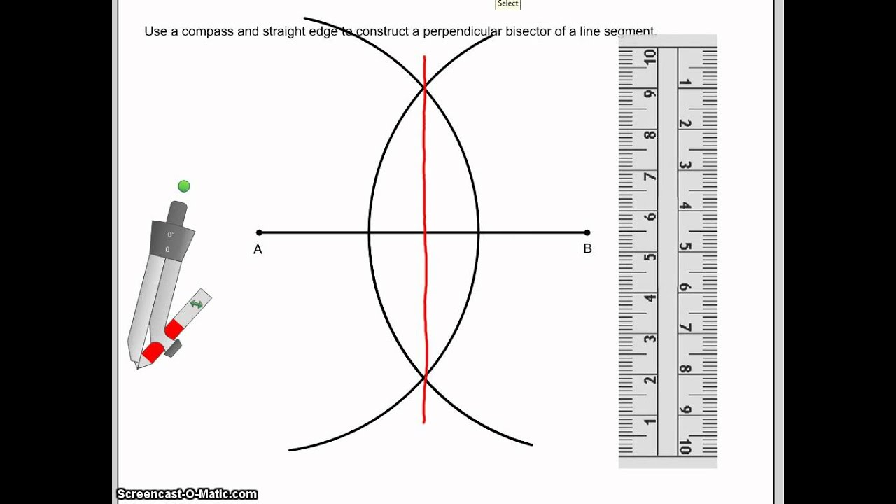 Drawing Parallel Lines With Compass : Construct a perpendicular bisector of line segment youtube