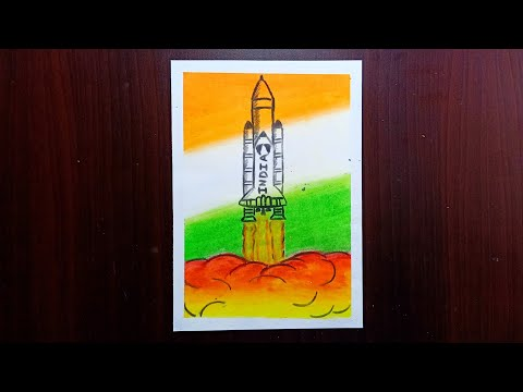 chandrayaan-2|-rocket-launch-drawing-with-oil-pastels--step-by-step