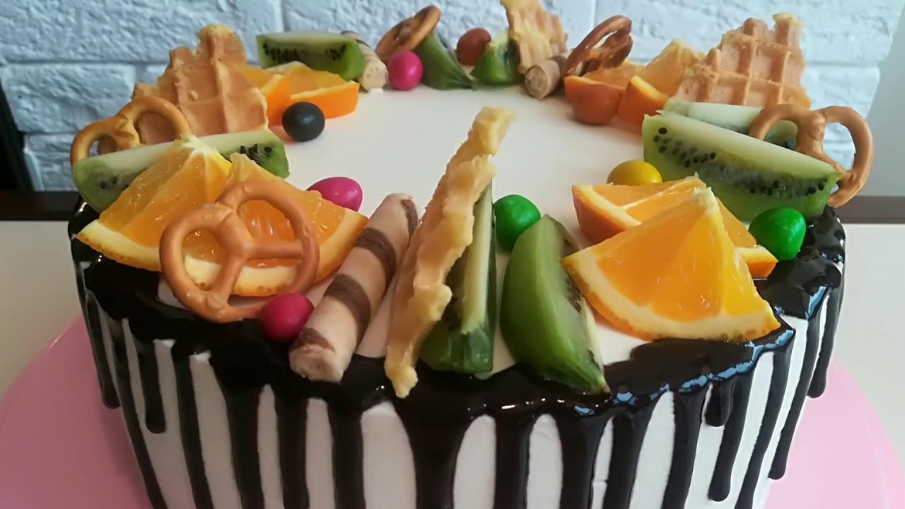Бисквитный торт с фруктами/ Фруктовый торт/ Как собрать и ...