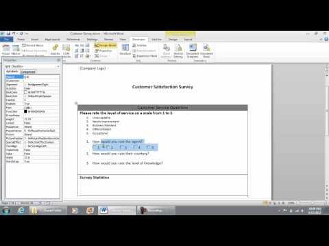 Adding VB ActiveX Controls - Checklist Survey in Microsoft Word 2010 (part 5 of 9)