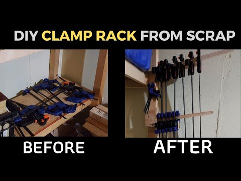 DIY Clamp Racks From Scrap Wood to reduce clutter