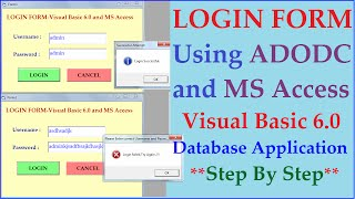 Login Form using Visual Basic 6.0 Adodc and Ms Access Database- Step by Step