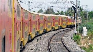 WAP-7 Chennai-Bangalore Double Decker blasts Jolarpettai Curve!!!