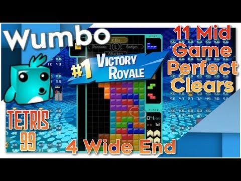 Tetris 99 - 11 Mid Game Perfect Clears - 4 Wide End