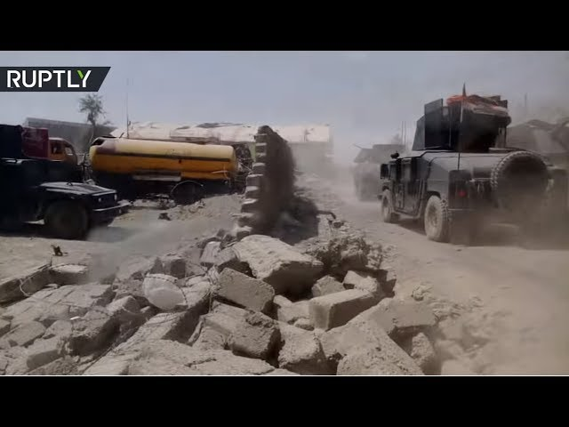 Close-up view of destroyed Great Mosque of al-Nuri in Mosul