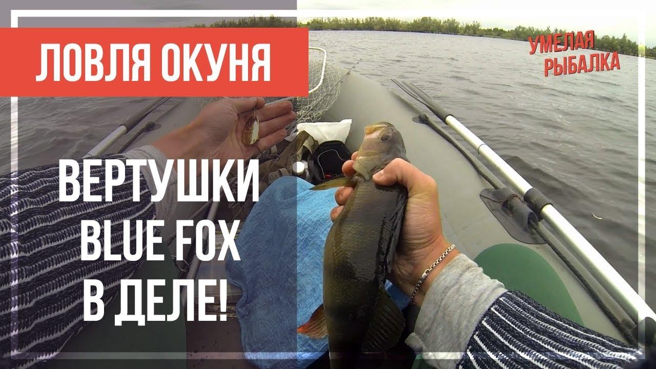 Ловля ОКУНЯ на спиннинг с лодки. На крупные ВЕРТУШКИ Blue Fox № 4-5. Летняя рыбалка на большой воде
