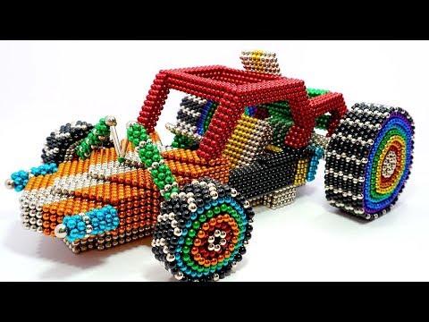 DIY - Как собрать мини-багги-машины PUBG из магнитных шариков (удовлетворительно) | Магнит Мир 4К