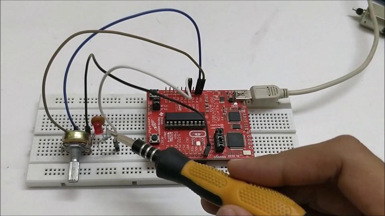 Pulse width Modulation (PWM) using MSP430G2: Controlling Brightness