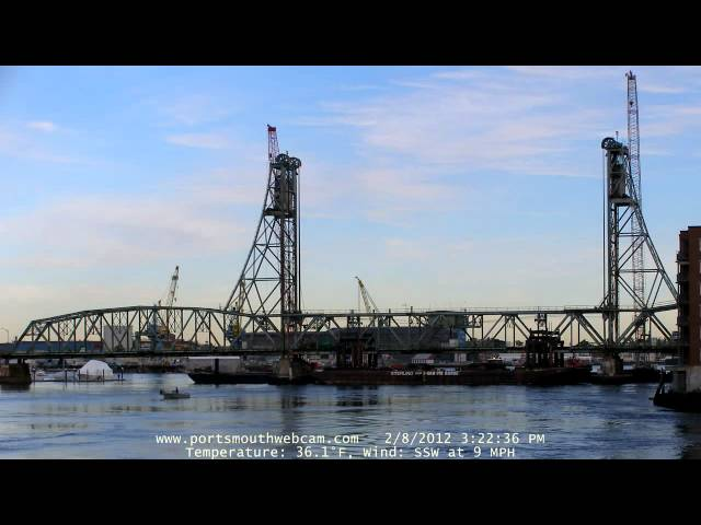 Memorial Bridge center span float-out from Portsmouth Harbor Cruises Travel Video
