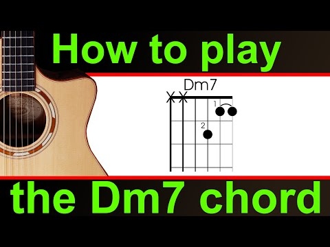 how to play dm7 on guitar.  the d minor 7 chord