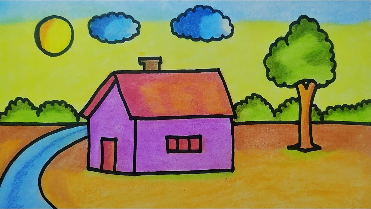 Easy Landscape Drawing For Kids House And Nature Painting Youtube