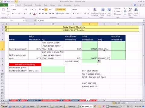 Excel 2010 Statistics 42: Bayes' Theorem Posterior Probabilities &  SUMPRODUCT