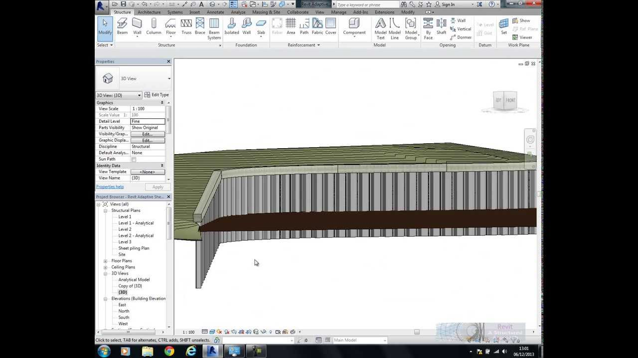 Revit 2014 Modelling Piled Wall Systems Youtube