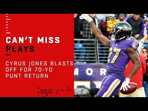 Ravens Returner Cyrus Jones Blasts Off for 70-Yd Punt Return