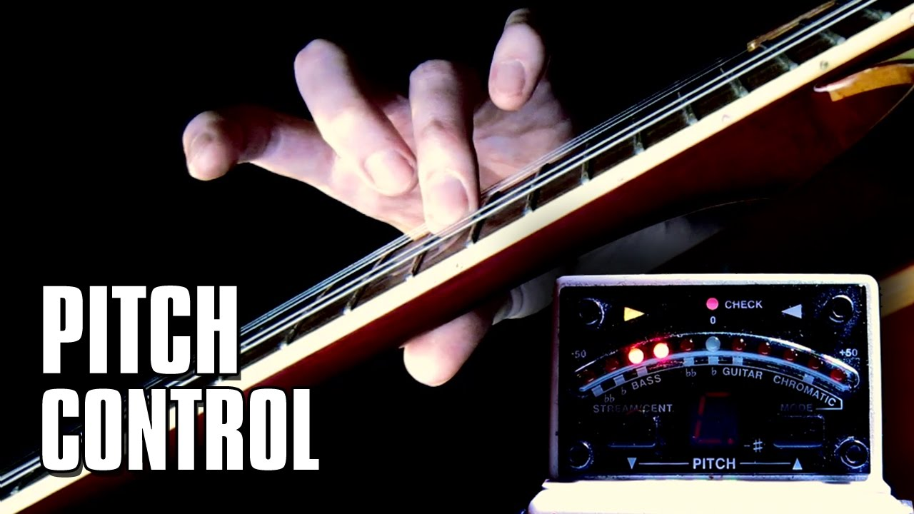 Lowering the pitch by pushing the string towards the bridge (classical vibrato style)