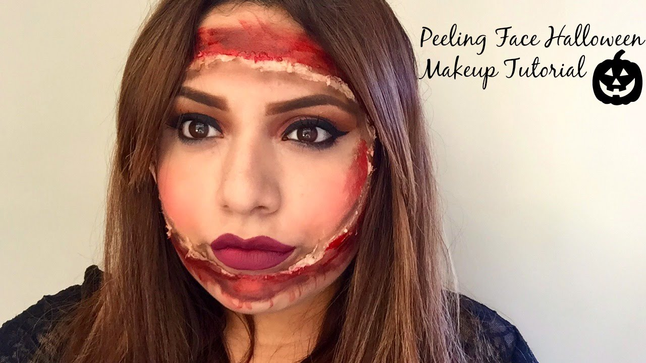 Peeling Face Halloween Makeup Tutorial Youtube - Halloween-face-makeup