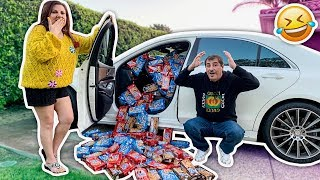 FILLING MY HUSBAND'S CAR WITH 10,000 COOKIES!!