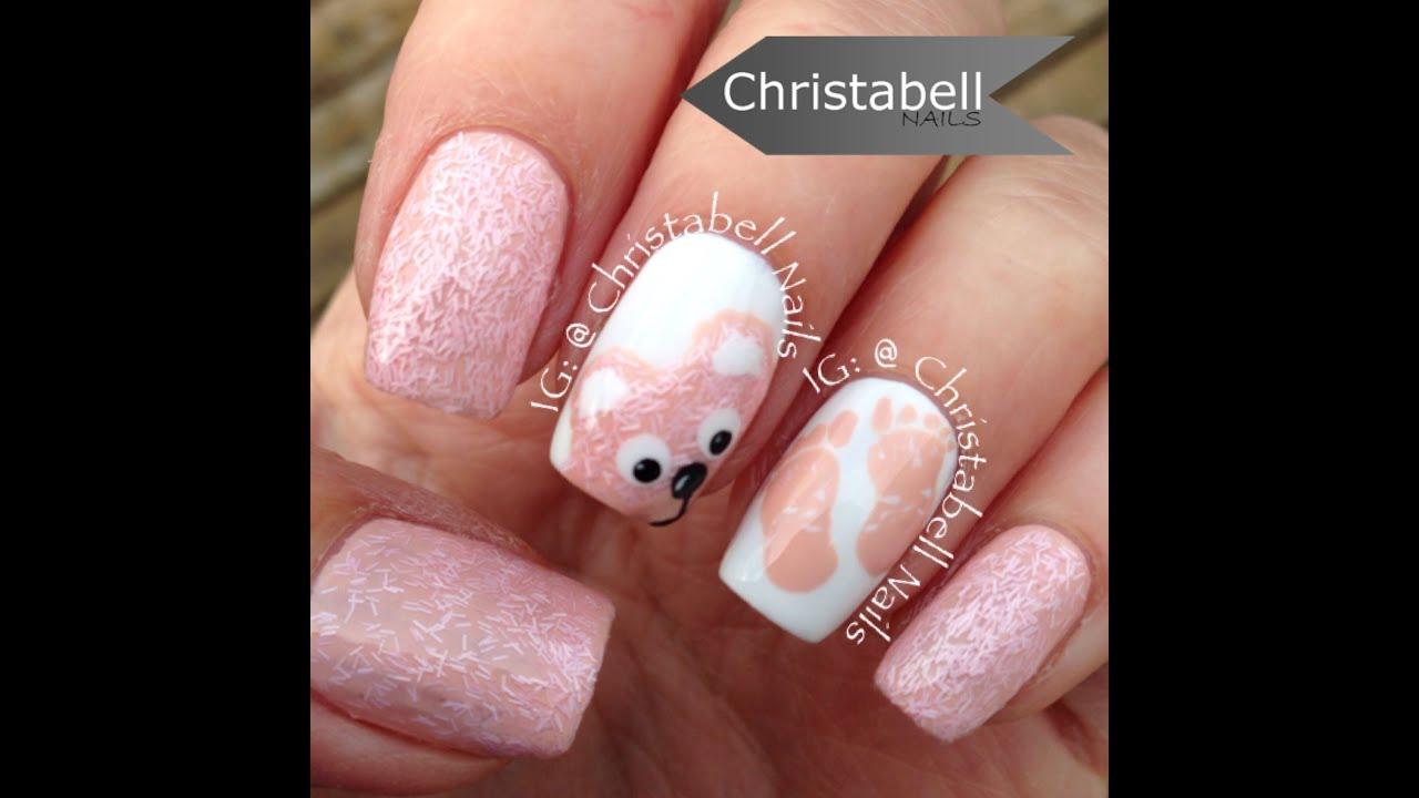 Chriellnails Teddy Bear And Baby Feet Nails Tutorial