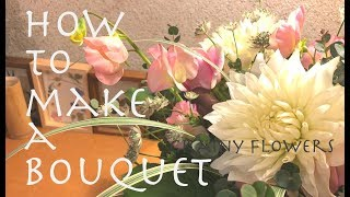 How to make a bouquet.Dahlia&Rose. For a birthday. ダリアやバラ、ス...