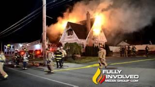 Mastic,NY: Early Morning Fire on Super Bowl Sunday Guts Manor House Restaurant 02-05-17