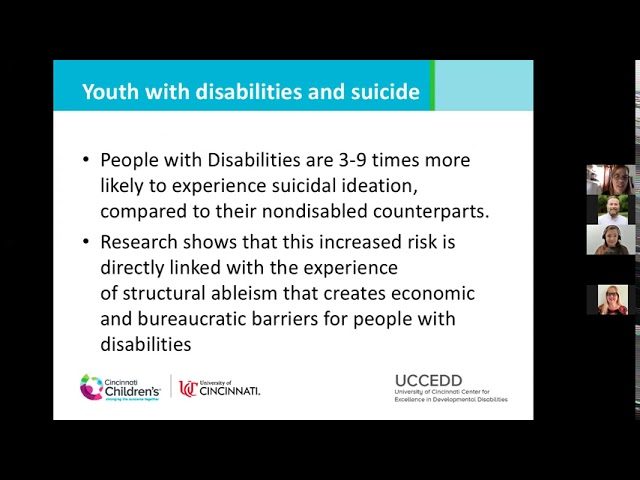 MHDD Webinar Series: Preventing Suicide through Empowerment of Youth with Disabilities