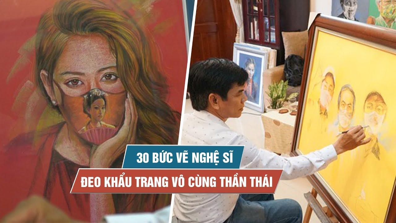 Ông Trump và loạt nghệ sĩ đeo khẩu trang sinh động dưới cây cọ của họa sĩ Sài Gòn
