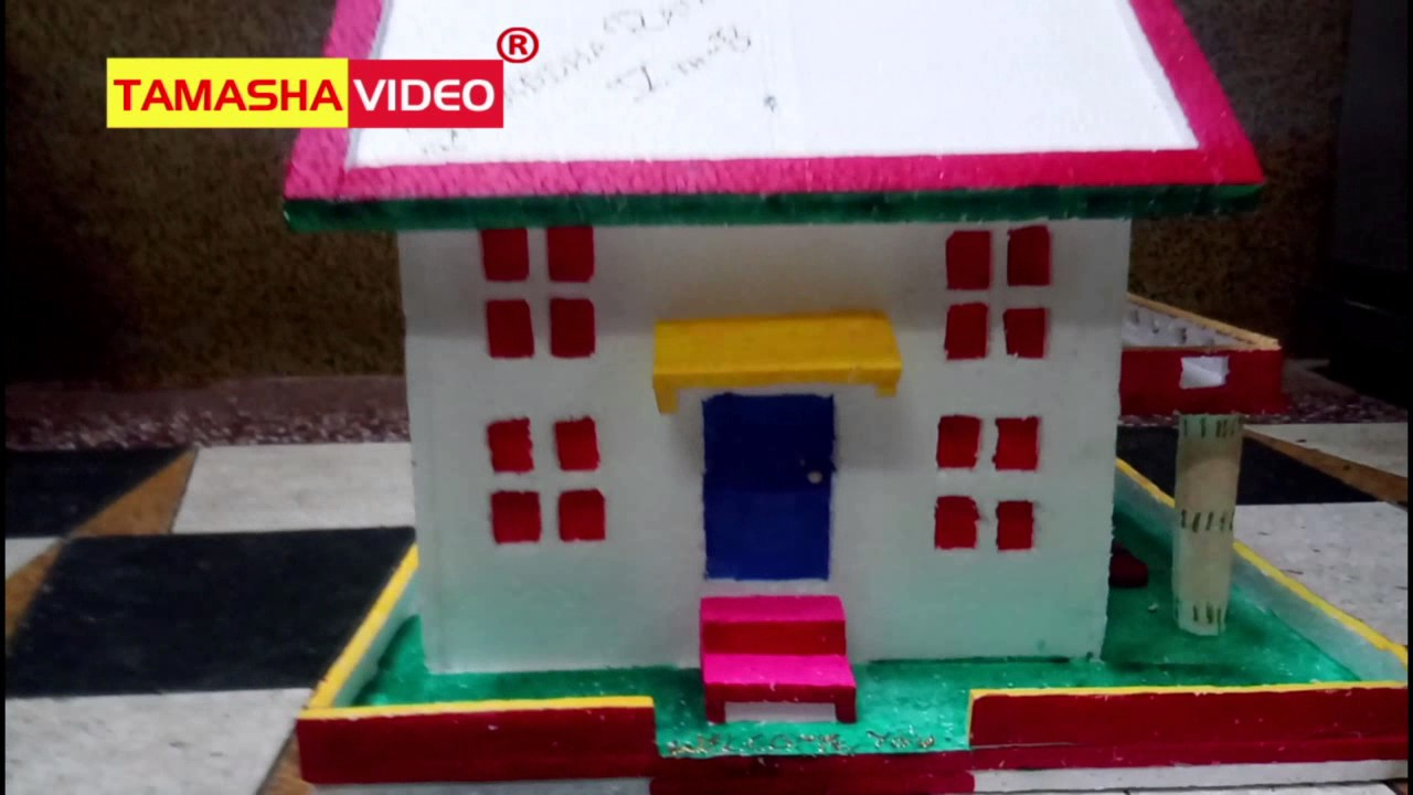 How to make a small thermocol house model craft ideas for kids shraddha