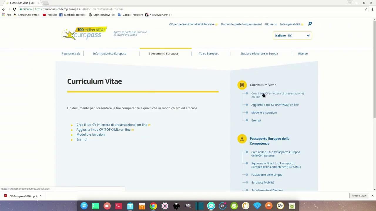 Come Creare Un Curriculum Online Con Europass Per Principianti Youtube