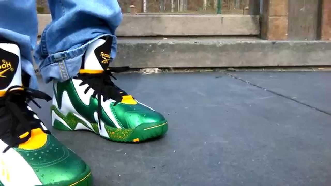 873c05293bd Reebok kamikaze 2 supersonics reign man on feet review - YouTube