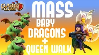 Mass Baby Dragons + Queen Walk - Townhall 9 Attack Strategies - NEW ATTACK - Clash of Clans