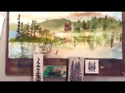 Landscape Reflections With Stamping And Watercolor Youtube