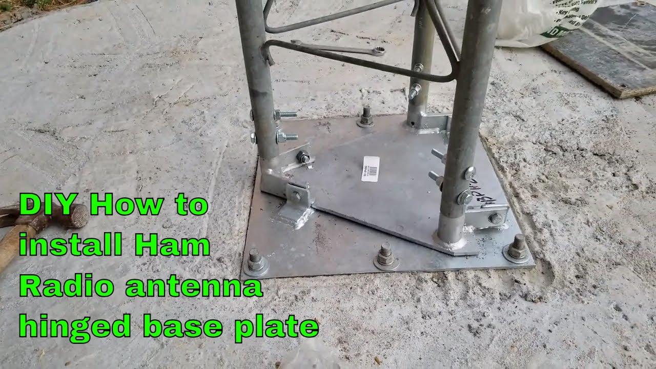 DIY Ham radio antenna tower hinge plate installation 12-19-18