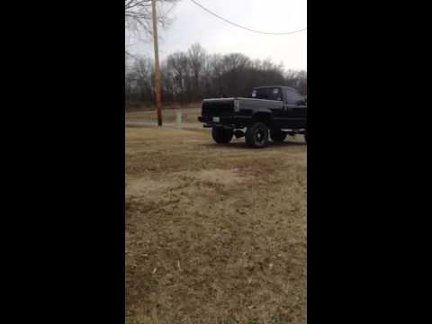 Big black jacked up truck