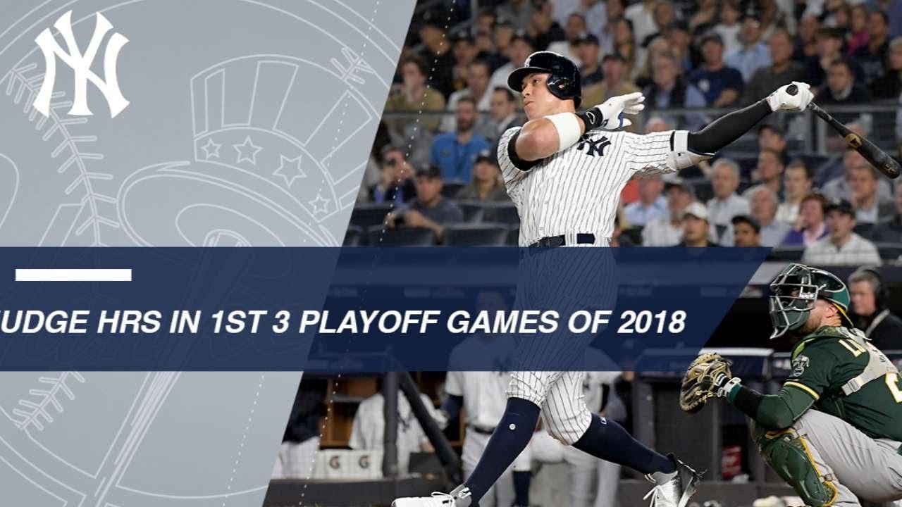 Aaron Judge homers in his first three postseason games of 2018