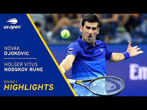 Novak Djokovic vs Holger Vitus Nodskov Rune Highlights | 2021 US Open Round 1