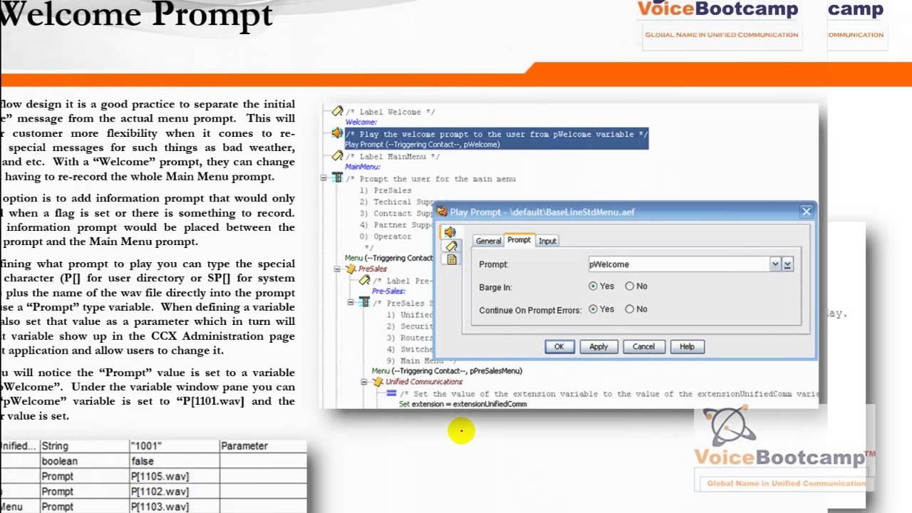 VoiceBootcamp UCCX Scripting - Auto Attendant Menu Application v2