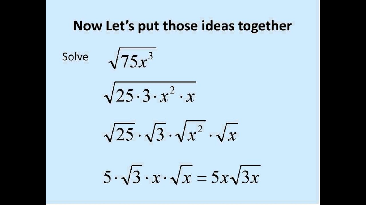 Square Roots With Variables Simplifying Math Radical Expressions Simplifying Radical Expressions Simplifying Radicals