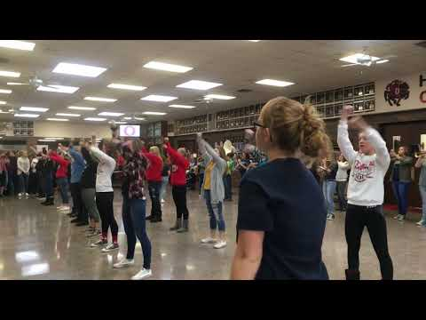 Orion High School's flags perform with spirit squad and band
