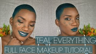 TEAL EVERYTHING   FULL FACE MAKEUP TUTORIAL   BEAUTY BY KANDI