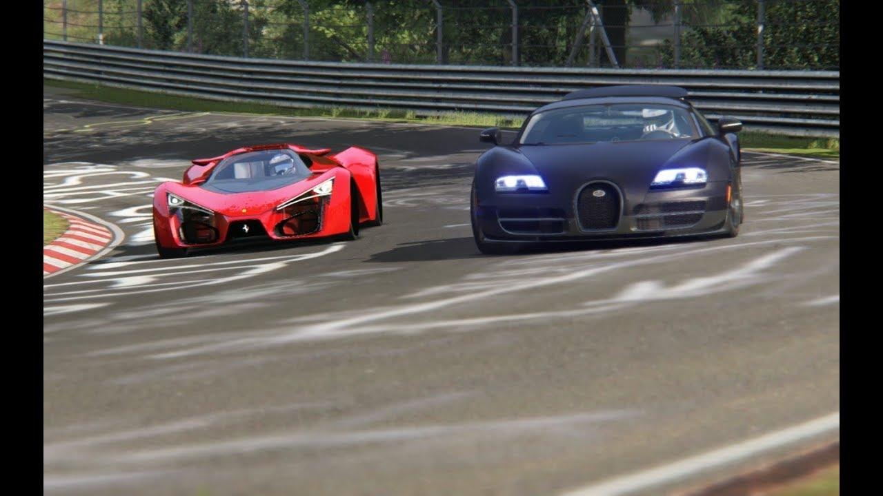 ferrari f80 concept vs bugatti veyron 16 4 super sport at nordschleife youtube