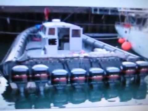 8 Yamaha 2 stroke V-6s Outboard Motors on Drug Runner Boat