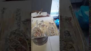 Уроки декора . Коллаж Терра Lesson texture paintin g. how to do it yourself. Botanical paintings