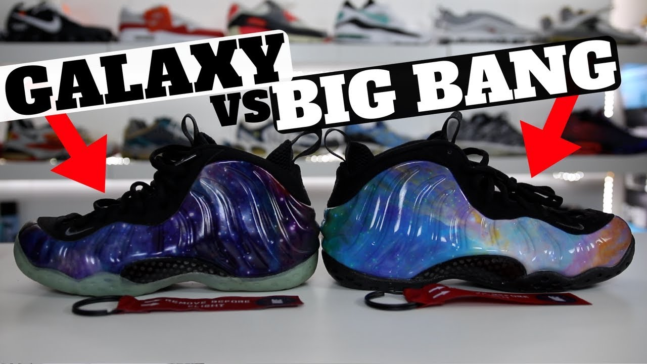 176dfbe784512 Nike Air Foamposite One GALAXY vs BIG BANG Comparison Review w  On Feet